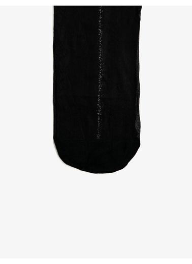 Koton Arkasi Çizgili Külotlu Çorap Siyah